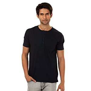 Yale - Classic Crew Neck, Half Sleeves Henley - Regular |Color: Jet Black |Size: XX Large