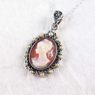 Pearl Halo Coral Cameo Necklace