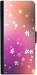 Snoogg Flower Graphic Graphic Snap On Hard Back Leather + Pc Flip Cover Samsu...