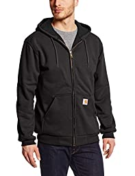 Carhartt Men\'s Rain Defender Rutland Thermal Lined Hooded Zip Front Sweatshirt 100632,Black,XX-Large