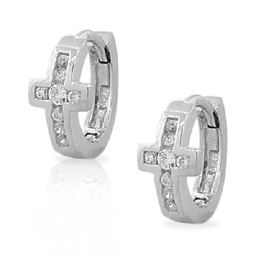 .925 Sterling Silver White Crystals Cz Cross Religious Hoop Huggie Womens Girls Small Earrings