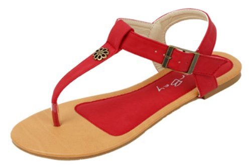 New Starbay Brand Women'S T-Strap Red Gladiator Flats Sandals Size 10 front-586171