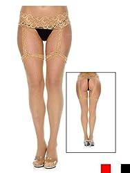 Be Wicked Women's Back Seam Garter Belt Stocking, Nude, One Size