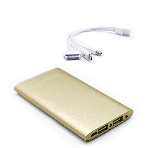 Cellevo モバイルバッテリー 6000mAh 4in1充電ケーブル付属 iPhone iPad Galaxy Xperia Android スマホ Wi-Fiルータ対応 大容量 67x9x116mm シャパンゴールド EP6000F-GD-A 【フラストレーションフリーパッケージ(FFP)】