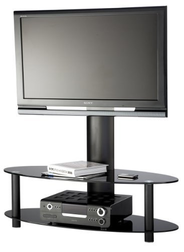 55 inch Cantilever Curved Glass TV Stand - all black