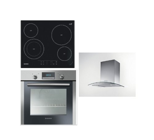 Hoover Built-in Multi Function Oven HOC709/6X, Touch Control Hob HVE642 and HGM61X 60CM Glass Chimney Hood
