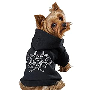 Zack & Zoey Crowned Crossbone Dog Hoodie, Small, 12-Inch, Black