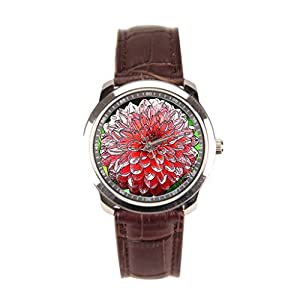 sanYout Watches Leather Band Nature Leather Watch Blossom Men Leather Watches Dahlia
