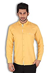 Kivon Men's Yellow Casual Shirt