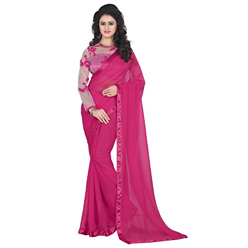 Amour Fashion Women's Georgette Saree with Net Blouse  available at amazon for Rs.399