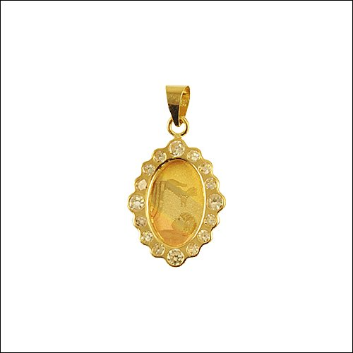 14k Tricolor Gold, Baptism Christening Pendant Charm Lab Created Gems 12mm Wide