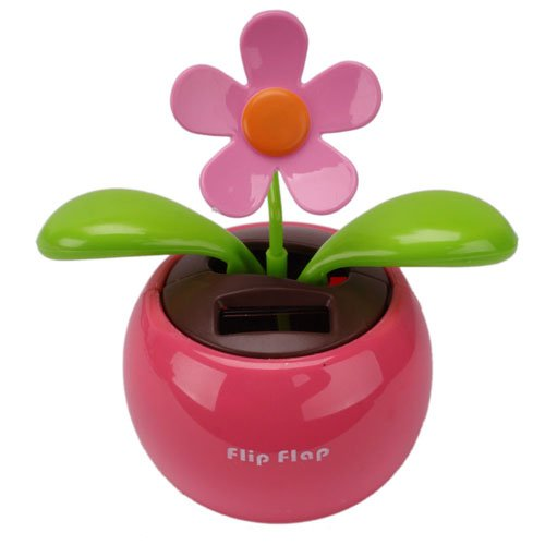 Car Rose-red Cute Flip Flap Swing Solar Flower