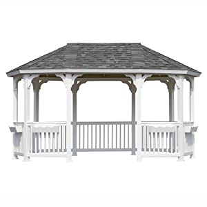Suncast Oval Vinyl Gazebo without Floor and Shingles, 10 by 16-Feet