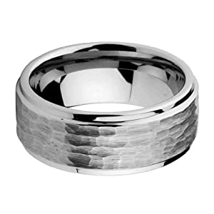 9mm Men's Tungsten Comfort-fit Hammered Wedding Band Ring