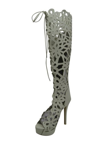 Checklist Women'S Lazer Cut Floral Tall Bootie, White Size 7