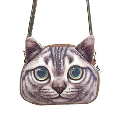 Fakeface Women Girls Vivid Cute 3D Cat Head Face Lightweight Handbag