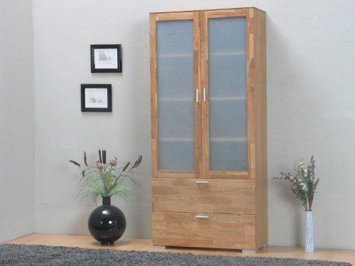 Vitrine Helsinki Hochschrank Holz Vitrinenschrank Wohnzimmer Möbel Eiche massiv online bestellen