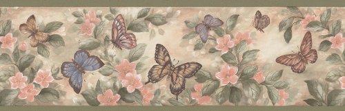 Brewster 137B38634 Kitchen Bath Bed Resource III Butterflies Wall Border, 6.875-Inch by 180-Inch, Pastels