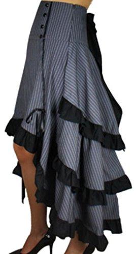 Burlesque-Blaze-Gray-White-Pinstripe-Gathered-Steampunk-Vintage-Style-Skirt