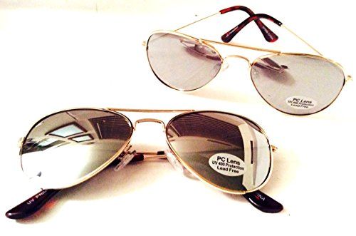 2 Pack Ages 3 - 8 Kids Gold Costume Party Aviator Sunglasses Free Pilot Pins