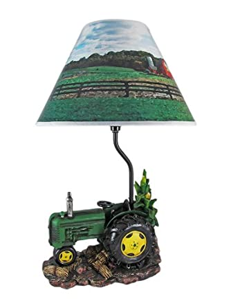 Green Farm Tractor 19 Inch Table Lamp Country - John Deere Childrens Lamp - Amazon.com