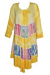 Indiatrendzs Women's Rayon Maxi Dress Designer Tie Dye Yellow Causal Dresses
