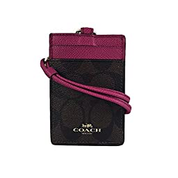 Coach Signature C Brown Fuchsia Pink Lanyard, Badge ID Card Holder, 63274