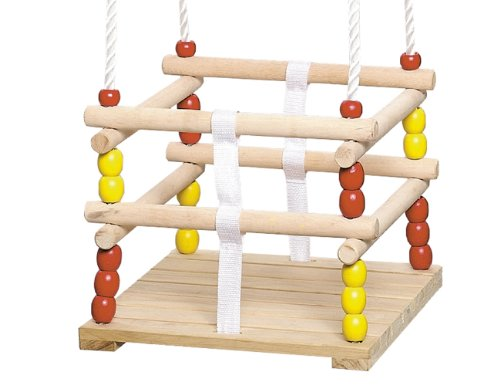 Siena Garden Altalena in legno 30x30 cm con corda e cintura di sicurezza