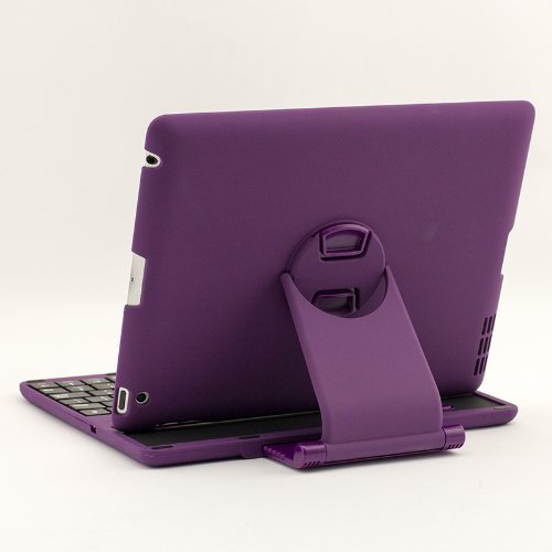Supernight(Tm) 360 Degree Rotate Detachable Removable Bluetooth Wireless Keyboard Sliding Cover Case For Ipad 2 Ipad 3 Ipad 4 Purple Color
