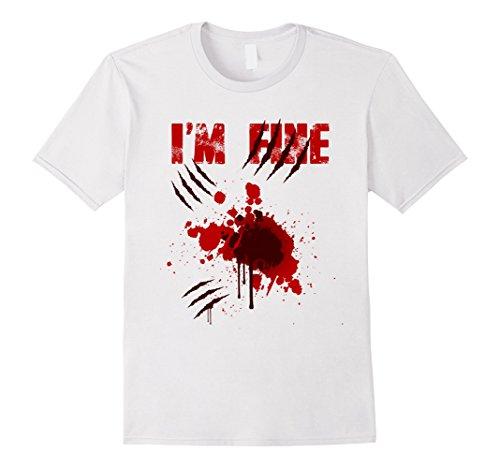 Men's I'm Fine Bloody T Shirt I Am Fine Funny Halloween Shirts XL White
