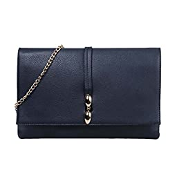 BMC Womens Fashionable Midnight Navy Blue Faux Leather Large Envelope Style Statement Clutch