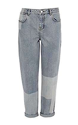 Patchwork faded wash relaxed jean