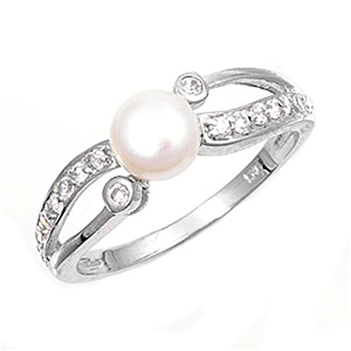 Sterling Silver Women's Simulated Pearl Clear CZ Ring Cute 925 Band Size 10 (RNG11297-10) (Pearl Ring Size 10 compare prices)