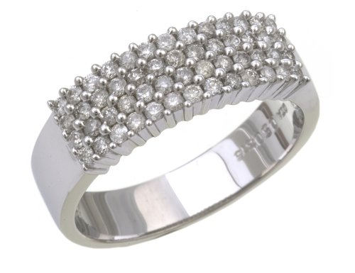 9ct White Gold Ladies' Diamond Ring Size P