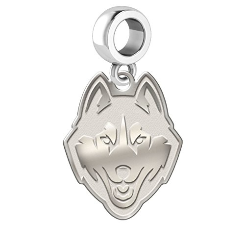 Connecticut Huskies Natural Finish Silver Logo Dangle Charm Fits European Style Bracelets