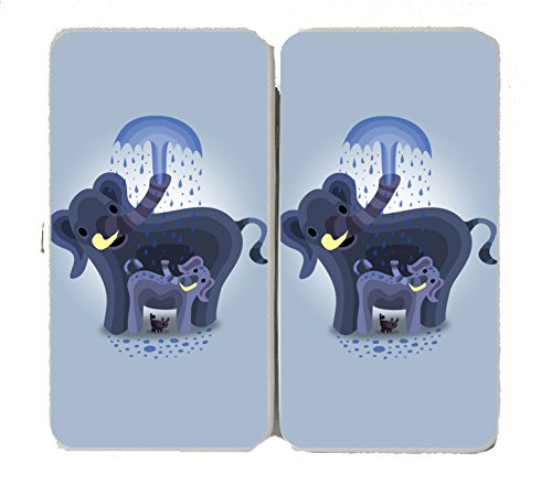 """""""Elephant Showers"""" Cute Mom & Baby Trunk Squirting - Taiga Hinge Wallet Clutch front-318678"""