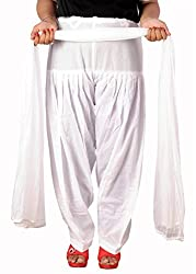 Tinnu G Women's Cotton Salwar and Dupatta Set (TGCSD1110_White_Free Size)