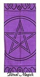Large Pentacle Altar Cloth - Color: Purple
