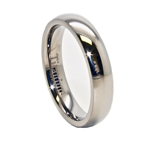 Blue Chip Unlimited - Unisex 4mm Domed Polished Classic Titanium Ring Wedding Band Designer Fashion Engagement Ring Size L 1/2