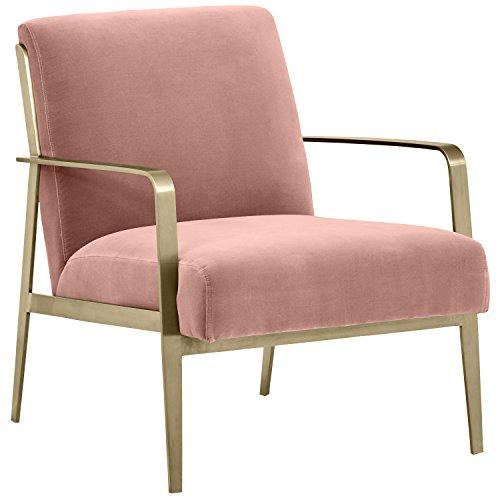 "Rivet Clover Modern Glam Velvet Brass Arm Accent Chair, 27.25"" W, Dark Pink"