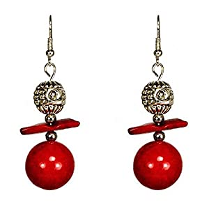Ladinell´e Damen Ohrringe 925 Ohrhaken 6cm - Türkis rot synth 1,7cm & Koralle rot Splitter