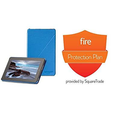 Amazon Fire Case (5th Generation - 2015 release), Blue and 2-Year Protection Plan