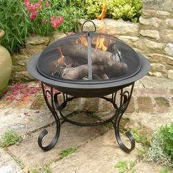 Black Steel Firebowl with mesh cover 61cm high, by Buchanan