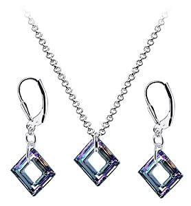 Sterling Silver Vitrail Crystal 16 inch Pendant Earrings 1mm Rolo Chain Necklace Jewelry Set Made with Swarovski Elements