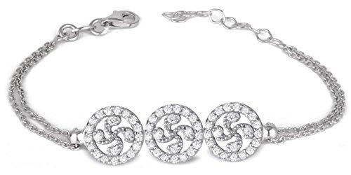 Adens-Jewels-Bijoux-Basques-Croix-Basque-Bracelet-Argent-Femme-Rglable-Cercle-Oxyde-Dimension-Longueur-rglable-de-16--18-cm