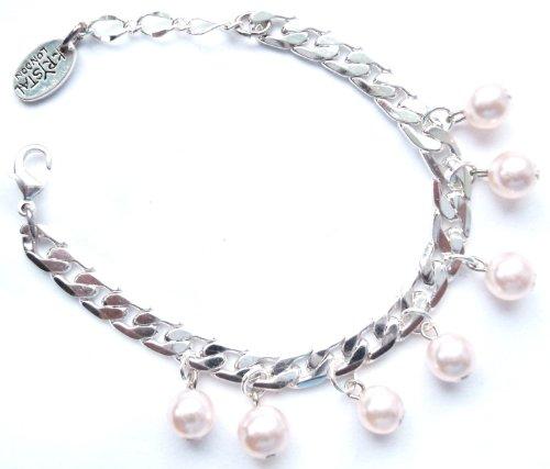 Swarovski Pink Faux Pearl Charms Bracelet in Silver Plated / Faux Pearl Bracelet / Pearl Charm Bracelet in Silver