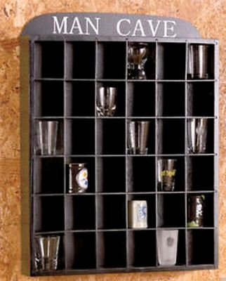 """Man Cave"" Shot Glass Display Shelf - No Door"