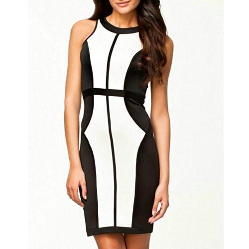 Women'S Sexy Fitted Round Neck Bandage Clubwear Cocktail Party Dress White&Black L