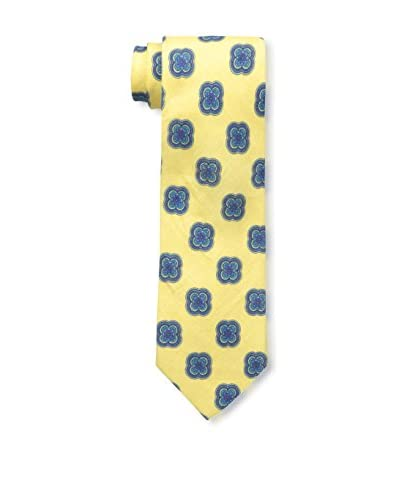 Rossovivo Men's Medallion Tie, Light Yellow