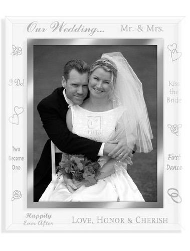 Malden Mirrored Glass Picture Frame, Our Wedding, 8 by 10-Inch –